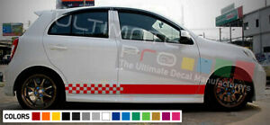 Stripes Decal Kit For Nissan Micra Side Carbon Light Mirror Lip Tune Head Cover