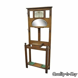 Mission Oak Hall Tree Umbrella Stand Mirror Coat Hat Rack Leaded Stained Glass