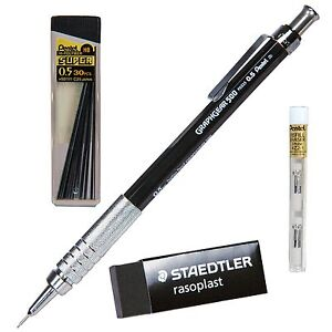 Pentel Graphgear 500 Pg525 0 5mm Mechanical Pencil With Hb Lead Erasers