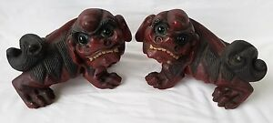 Pr Antique Chinese Carved Wooden Foo Dogs With Glass Eyes