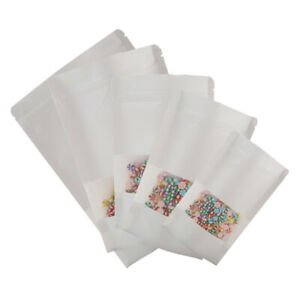 Many Size 100 Rounded Top Corners White Kraft Zip Lock Stand Up Bags W Window