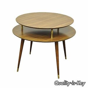 Vintage 27 X 33 Mid Century Modern 2 Tier Round Accent Atomic Lamp Side Table