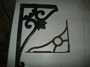 Lot Of 2 Antique Cast Iron Shelf Brackets Vintage Rustic Decor Frame Recycle