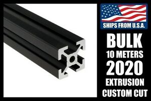Bulk 10 Meters Custom Cut To Length Black 2020 Series Aluminum T slot Extrusion
