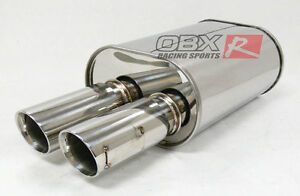 Obx Universal Muffler Hr12 Eclipse Integra Prelude Fit All Cars 3 0 Inlet