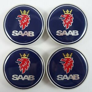 Saab Wheel Center Caps Set Of 4 New 12775052 12802487 Blue 9 3 9 5 900 9000