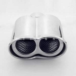 2 25 Inlet Exhaust Tip 7 Long Rolled Resonated Stainless Steel