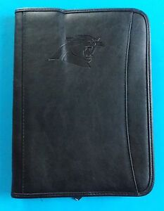 New Carolina Panthers Leeds Leather Zip up Padfolio Organizer W letter Pad Black
