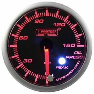 Prosport 60mm Premier Amber Red Super White Led Oil Pressure Gauge Psi
