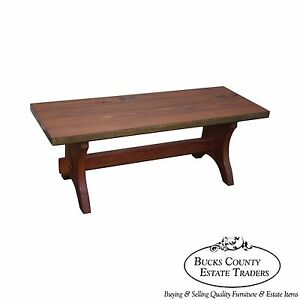 Rustic Walnut Campaign Style Trestle Base Coffee Table