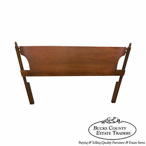Vintage Danish Modern Style Walnut Full Size Bed Headboard