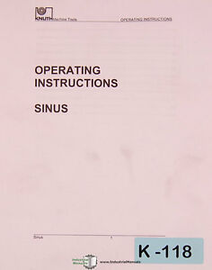 Knuth Sinus And Sinus B Lathe Operations And Parts Manual