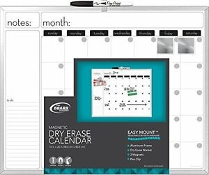 Board Dudes 16 X 20 Inches Aluminum Framed Magnetic Dry erase Calendar Include