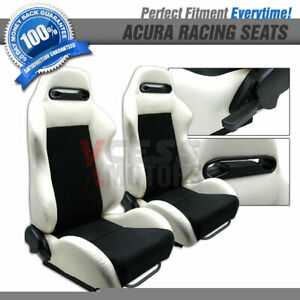 Fits Acura Models 2 Tone White Pvc Black Suede Racing Seats Slider pair