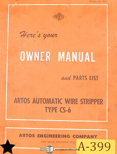 Artos Cs 6 Wire Stripper Owner s And Parts Manual Year 1977