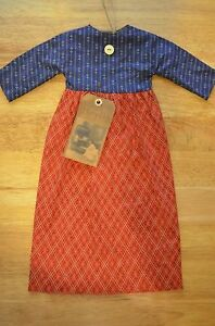 Grungy Hanging Americana Cupboard Wall Doll Dress Primitive Tag 18 Folk Art