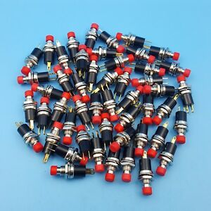 50pcs Red Pb05a 2pin Maintained On off 7mm Mini Spst Push Button Switch
