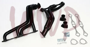 Black Coated Exhaust Headers Kit 35 48 Sbc Chevy Small Block V8 Fat Fender Well