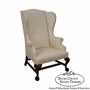 Custom Quality Chippendale Style Wing Chair W Carved Eagle Heads