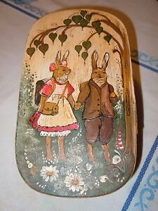 German Pennsylvania Decorated Banded Wooden Brides Box Folk Art Round