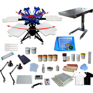 6 Color Screen Printing Press With Flash Dryer exposure Materials Kit Starter
