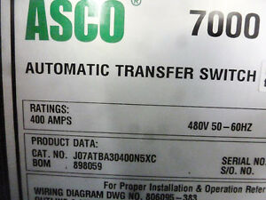 Asco 400a Series 7000 Automatic Transfer Switch