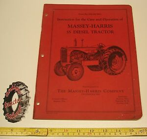 Original Massey Harris 55d Diesel Tractor Operator s Manual Parts Book 6 53 Mh