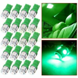 20x Green T10 194 5smd Instrument Panel Cluster Dash Led Light Bulbs For Chevy