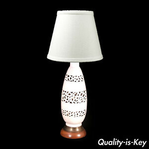 Vintage Mid Century Modern Walnut Pierce Glazed Pottery Ceramic White Table Lamp