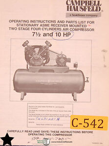 Campbell Hausfeld 7 And 10 Hp Air Compressor Operations And Parts Manual 1984