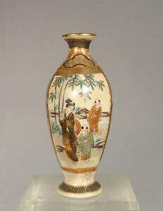Antique Japanese Satsuma Miniature Gilt And Signed Vase Landscape