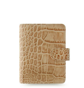 Filofax Classic Croc Pocket Size Organizer planner Taupe fawn Leather 026010