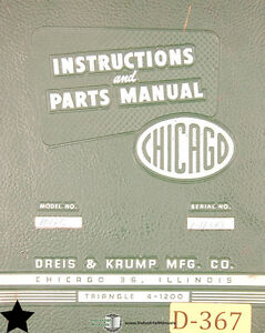 Chicago Dreis Krump 1012c Press Brakes Instructions And Parts Manual 1964