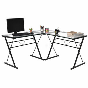 L shape Computer Desk Tempered Glass Laptop Table Workstation Corner Home Office