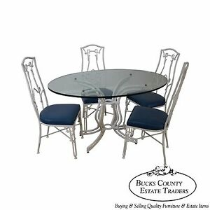 Vintage White Faux Bamboo Cast Aluminum Glass Top Dining Table 4 Chair Set
