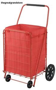 Large Folding Shopping Cart Utility Grocery Trolley Laundry Basket Liner Load