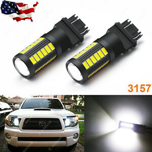 White 33 Smd 3157 4157 Parking Drl Led Light Bulbs For Chevy Gmc Dodge Ford
