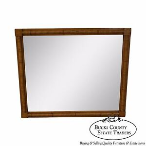 Antique Bamboo Frame Beveled Glass Wall Mirror