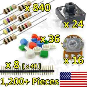 1 200 pcs Resistor Kit Variety Pack For Arduino Ttl Raspberry Pi Breadboard