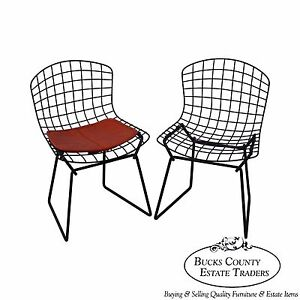 Knoll Mid Century Pair Of Bertoia Black Wire Childs Chairs