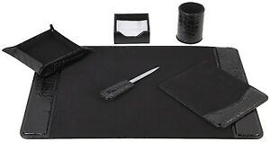 Executive Desk Set 6 piece Black Crocodile Embossed Leather Desktop Pad Cover