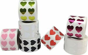 Heart Stickers 0 5 Inch Wide Labels 1 000 Pack Pick One Color