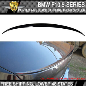 11 16 Bmw 5 Series F10 M5 Sty 475 Black Sapphire Metallic Painted Trunk Spoiler