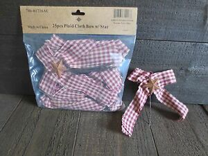 25 Pc Lot Primitive Plaid Bows With Rusty Star Deep Red Burgundy Rustic Country