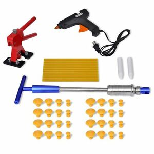 Paintless Dent Repair Tap Down Glue Gun Hail Removal Tool Kit T Bar Slide Hammer
