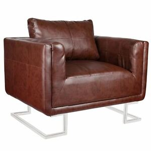 Contemporary Cube Club Chair Accent Armchair Real Leather Chrome Frame Brown