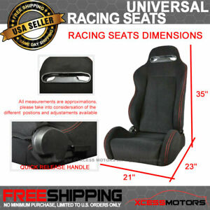 Fits Bmw Rco Style Cloth Black Racing Seats Red Stitch pair