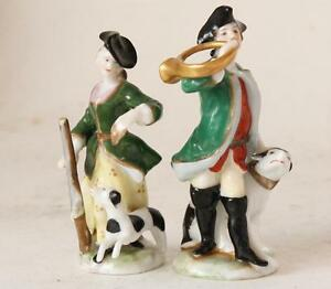 Antique German Pair Of Porcelain Figurines By Aelteste Volkstedt Factory C 1910s