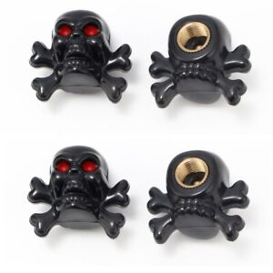 4x Skull bones Black Tire Wheel Valve Stem Air Caps Metal Covers Car motorcycle