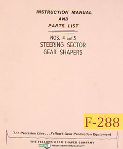 Fellows Nos 4 And 5 Steering Sector Gear Shapers Instruction And Parts Manual